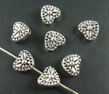 200pcs Tibetan Silver Nice Heart Carved Flower Spacer Beads 8.5x7x4.5mm 416