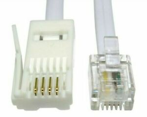 2m, BT Plug to RJ11 Telephone Cable,4 Pin Straight Wired Modem,Router Lead,White