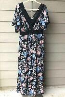KIYONNA  3 3X floral maxi dress boho Daydream black lace trim v-neck new 22/24