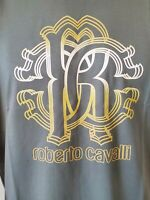 NWT Roberto Cavalli HST611 A475 Graphic Crew Neck Cotton Green T-Shirt Size XXL