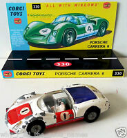 Vintage CORGI 330 / 371 PORSCHE CARRERA 6  Diecast Model Car & Custom Display