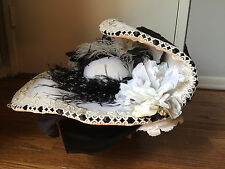 Victorian Style Large Ladies Hat, Black and White, Costume, Titanic, Vintage