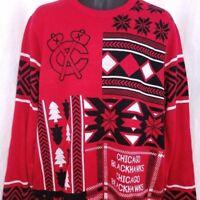 Chicago Blackhawks Mens Christmas Sweater NHL Hockey Fair Isle Red Size XL 104fc7b79