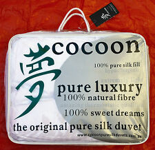 Cocoon Pure Silk Duvets. Autumn Sale! Queen Winter Weight Doona.