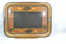 antique tole painted tin tray toleware fruit leaves gold red 24x18 19th c 1800s