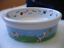 Ceramic Feeding Dish Kitty Cat - Cat plays with toys - Small size