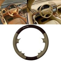 Wood Tan Leather Steering Wheel Cover Mercedes 06-09 W211 03-09 W209 CLK R230 SL