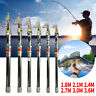 Carbon Fiber Telescopic Fishing Rod Sea Saltwater Portable Travel Spinning Pole