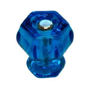 "1-1/4"" PEACOCK BLUE Glass Knob Hexagon antique vintage old retro pan Hoosier cup"