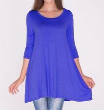 Plus Size 2X 2XL - New 3/4 Sleeve Royal Blue Long Tunic Top Shirt Blouse Dress
