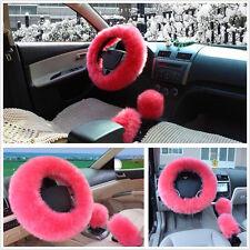 3 Pcs/Set Woolen Fur Autos Steering Wheel Gear Knob Parking Brake Cover Kit Pink