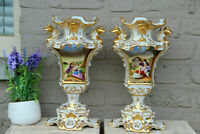 PAIR Antique 19thc Vieux paris porcelain Vases dragon gothic victorian rare