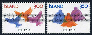 """Iceland 565-566, MNH. Christmas. Score """"The Night was Such a Splendid One"""", 1982"""