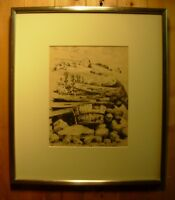 Christo Stefanoff Forgotten Master Canadian QC Artist Ink Sketch Framed 1950's