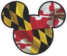 Maryland Flag Mickey Mouse Car/Window Decals Stickers- Set of Three
