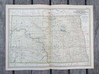 "Antique 1897 American Map from New Century Atlas 16""X11"" NORTH DAKOTA"