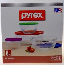 Pyrex 8-Piece Clear Glass Mixing Bowl Set W/Colored Lids