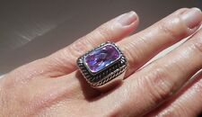 "NEW ""designer inspired"" Large Lavender Light Purple CZ Ring w cable detail SZ 6"