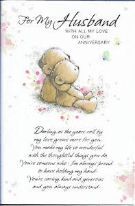 "HUSBAND ANNIVERSARY GREETING CARD 9""X6"" CUTE LONG VERSE FREE P&P"