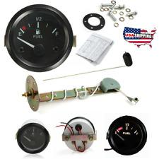 """2"""" Car Truck Oil Fuel Level Gauge Sending Unit Kit Led Pointer Meter E, 1/2, F"""