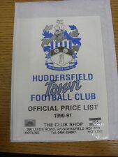 1990/1991 Huddersfield Town: Official Shopping List - Souvenir Shop Price List.