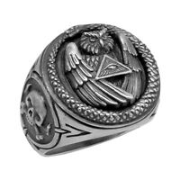 Masonic Silver 925 All Seeing Eye Snake Illuminati Owl Skull Biker mens Ring