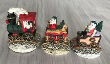 3 Piece Santa Train Miniature Painted Figurines Santa In Caboose, W Gifts,w Deer
