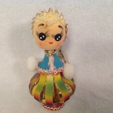 Vintage Japanese Christmas Decoration Ornament Doll Flocking Iridescent 4""