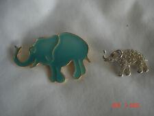 Turquoise Color Enamel 1 Ora Pave Rhinestone Lot 2 Vtg. Elephant Pins Brooches 1