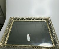 "Vintage Filigree Metal Picture Frame Wall Mount Glass Insert 13"" x 10"" Window"