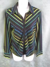 Ninety Women's Shirt Size Small Bright Stripes Fitted Versatile Top RETRO