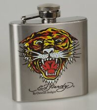 Ed Hardy Flachmann Stainless Steel 3 OZ Tiger By Christian Audigier