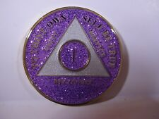AA Purple Glitter 1 Year Coin Tri-Plate Alcoholics Anonymous Medallion +Display