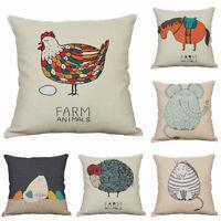Cotton Linen Horse Sheep Chicken Sofa Cushion Cover Home Decoration Pillow Case