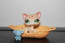 Littlest Pet Shop # 852 Leopard Shorthair Cat Green Moon Eyes Spots CREAM TAN