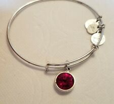 Alex and Ani Bangle Bracelet Ruby Red  Birthstone Charm Silver