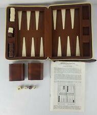 Vintage BACKGAMMON Travel Game Set Brown Padded Leather Travel Case Cardinal