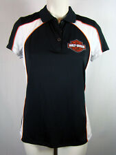 Harley-Davidson Womens Big Bang Moisture Wicking Black Short Sleeve Polo New S