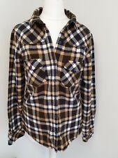 Zara Womens Checked Brushed Cotton Shirt Browns Size M Fits UK 8 Lumberjack