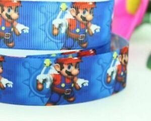NEW Mario Bros Blue Grossgrain Ribbon 22mm 1M,2M,3M,4M or 5M U Choose