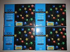 4 boxes 100 Solar Powered Flower String Lights LED white led color flowers NEW