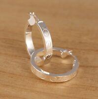 Solid 925 Sterling Silver Plain Huggie Hoop 25mm Diameter Earrings Gift Boxed