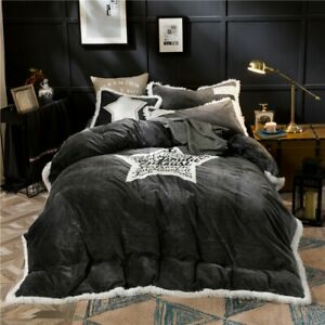 Crystal Flannel Pentagram Bedding set 4pcs Duvet cover set Bed Sheet Queen King