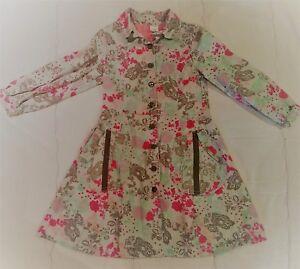 Cakewalk Europe designer Button up Dress Floral Grey Blue Pink Girls size 6 116