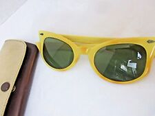 Vintage Calobar Cat Eye Sunglass American Optical C22-48 Green Lens Yellow Frame