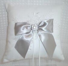 Silver Bow White Satin & Lace Wedding Ring Bearer Pillow Rhinestone Accent