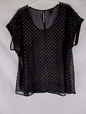 Lane Bryant Womens Sheer Shirt Size 18/20 Black Polka Dot Short Sleeve CB67Q