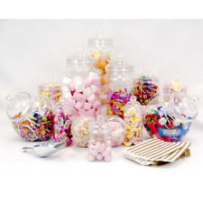 12 Vintage Jars Candy Buffet Sweet Shop Wedding Kids Kit Scoop & 50 Gold Bags