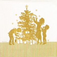 4x Paper Napkins -Christmas Papercut - for Party, Decoupage Craft