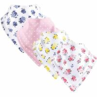 Luvable Friends Baby Bandana Bib, 4-Pack, Floral
